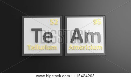 Periodic table of elements symbols used to form word Team, isolated on black