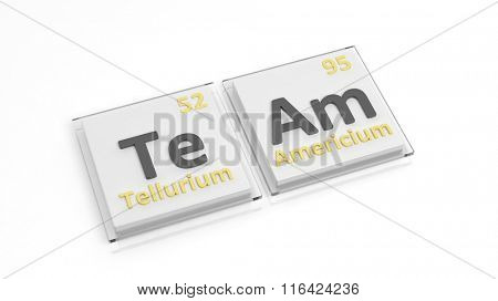 Periodic table of elements symbols used to form word Team, isolated on white.