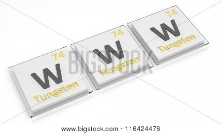 Periodic table of elements symbols used to form word WWW, isolated on white.