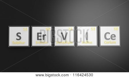Periodic table of elements symbols used to form word Service, isolated on black