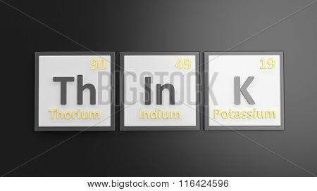 Periodic table of elements symbols used to form word Think, isolated on black