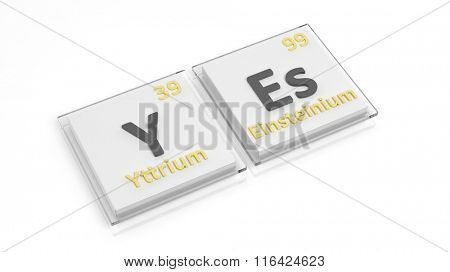 Periodic table of elements symbols used to form word Yes, isolated on white.