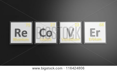Periodic table of elements symbols used to form word Recover, isolated on black