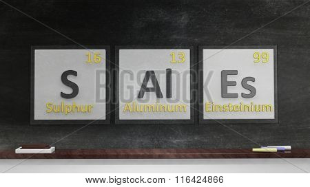 Periodic table of elements symbols used to form word Sales, on blackboard