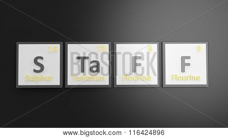 Periodic table of elements symbols used to form word Staff, isolated on black
