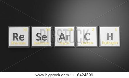 Periodic table of elements symbols used to form word Research, isolated on black