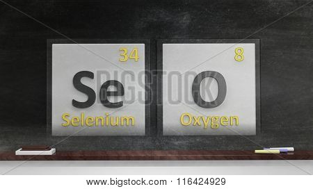 Periodic table of elements symbols used to form word SEO, on blackboard