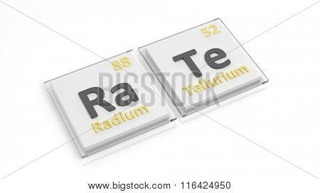 Periodic table of elements symbols used to form word Rate, isolated on white.