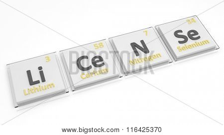 Periodic table of elements symbols used to form word License, isolated on white.