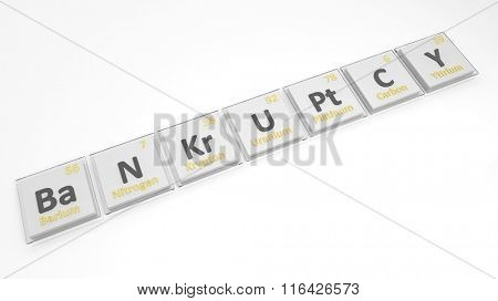 Periodic table of elements symbols used to form word Bankruptcy, isolated on white.