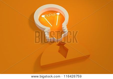 Lamp Head Businessman 3D Icon. Gears Shining