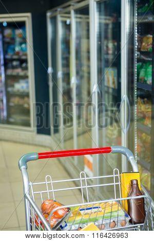 View of trolley near fridge in supermarket