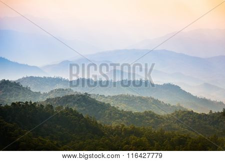 Landscape view on Huai Nam Dang National Park with morning Mist at Tropical Mountain Range Mae Hong Son Thailand