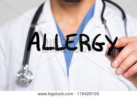 Doctor writing the word Allergy