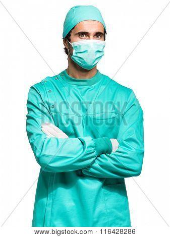 Surgeon portrait isolated on white