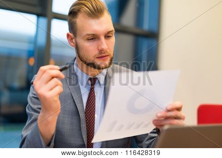 Portrait of a businessman reading a document
