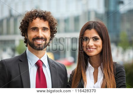 Portrait of a smiling business people couple