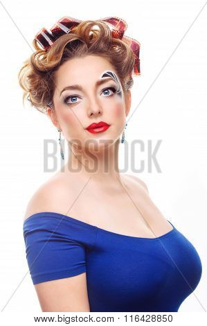 Girl Photographer With A Creative Makeup And Hairstyle.