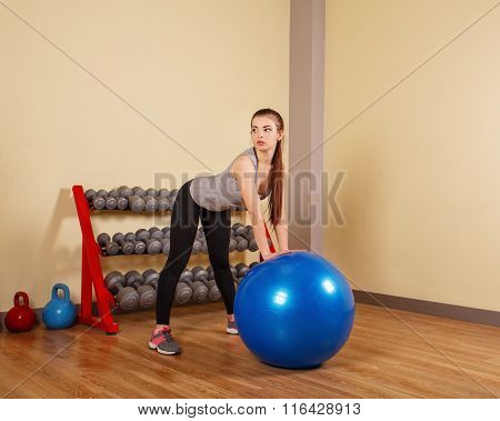 Girl Athlete Trains Back On Fitball.