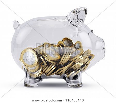 Glass Piggy bank with money