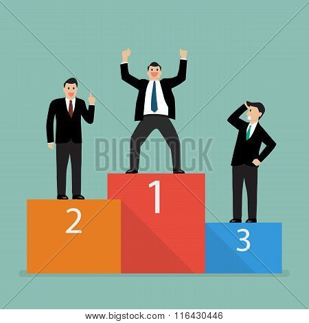 Winners Businessman Stand On A Podium