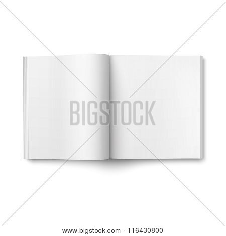 Blank open magazine template. Square format.