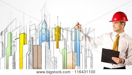 A young construction site worker in a red safety helmet happily sketching a colorful city sight, drawing lines, arrows, angles, cranes buildings with a pen in his hand