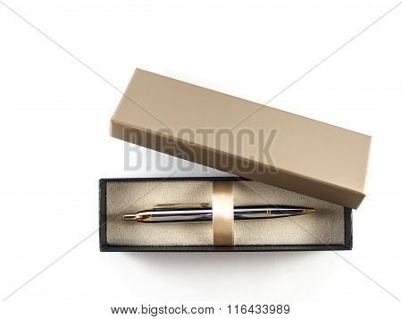 Pen In Box Top View Of  White Background
