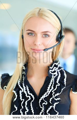 Portrait of  support phone operator with the headset