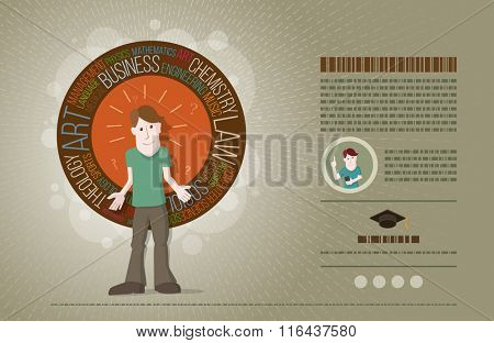 Concept of choice of future profession. Vector illustration and poster design template. Elements are layered separately in vector file.