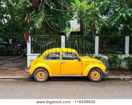 Retro car on the street of Vientiane
