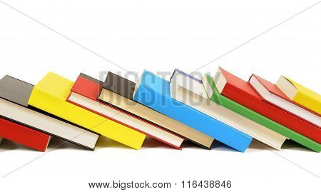 Leaning Row Of Colorful Books Isolated On White