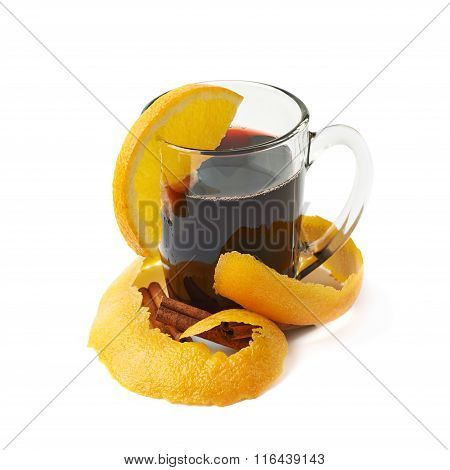 Glass of mulled wine isolated