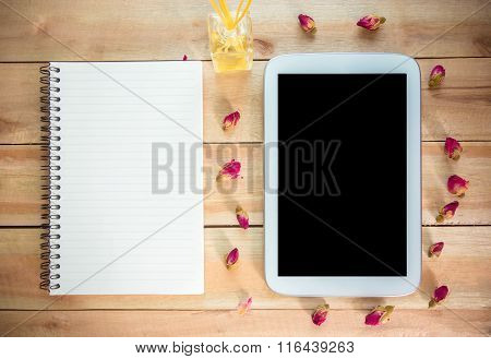 The Tablet With Notebook And Rose, Perfume Put On The Wood Floor, Digital Effect Vintage Style