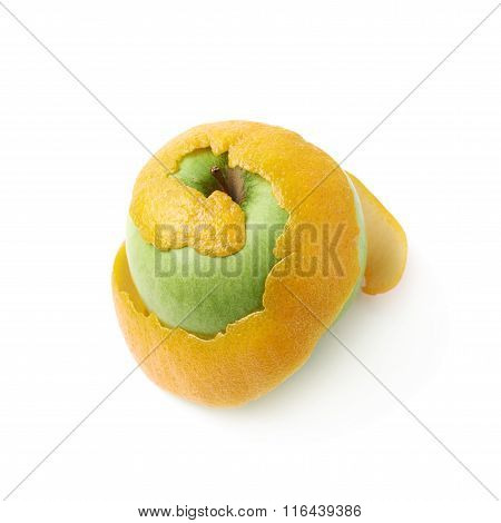 Green apple covered with orange peel