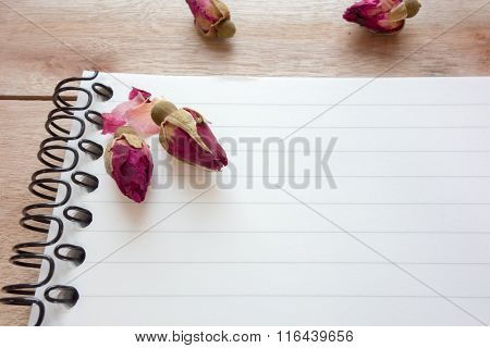 Blank Notebook With Copy Space And Rose Put On The Wood Floor, Digital Effect Vintage Style