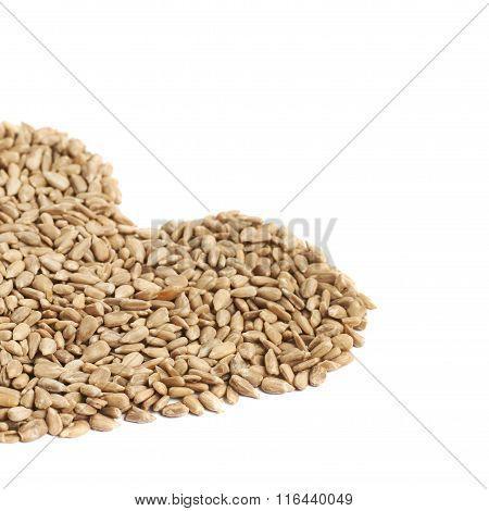 Heart shape made of sunflower seeds