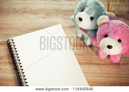 Notebook Paper With Couple Teddy On Wood Floor , Digital Effect Vintage Style