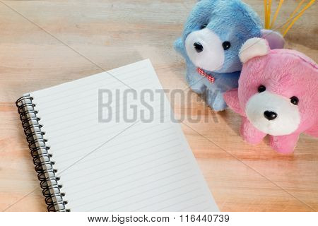 Soft Focus Notebook Paper With Couple Teddy On Wood Floor , Digital Effect Vintage Style