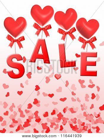 Valentine day sale, letters S, A, L, E are attached to heart shaped red balloons