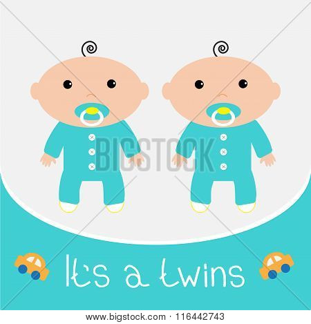 Baby Shower Card. Its Twins Boys. Flat Design.