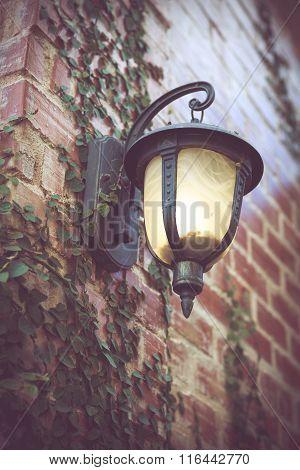 Ancient Lantern On Wall