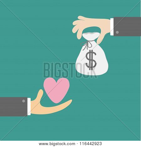 Hands With Heart And Money Bag. Exchanging Concept. Flat Design