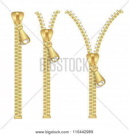 Golden Zip Set. Vector