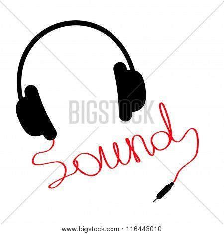 Black Headphones With Red Cord In Shape Of Word Sound. Music Car