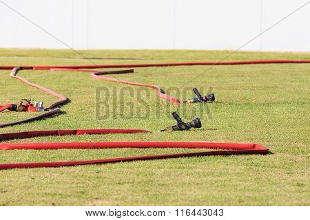 Firefighters Spray Water Pipe