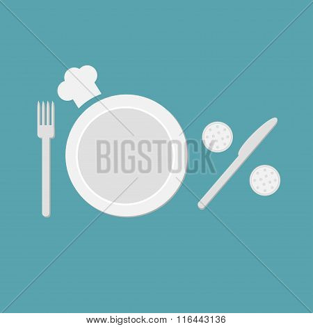 Plate, Fork, Knife, Salt And Pepper Shaker  And Chefs Hat