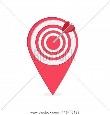 Map Pointer With Target And Heart Arrow .