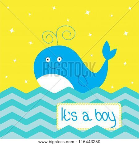 Its A Boy Baby Shower Card. Whale Ocean Sea. Flat Design