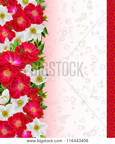 Horizontal Floral Border  Pattern, Seamless, Floral Background, Bouquet Of Red Roses And White Flowe